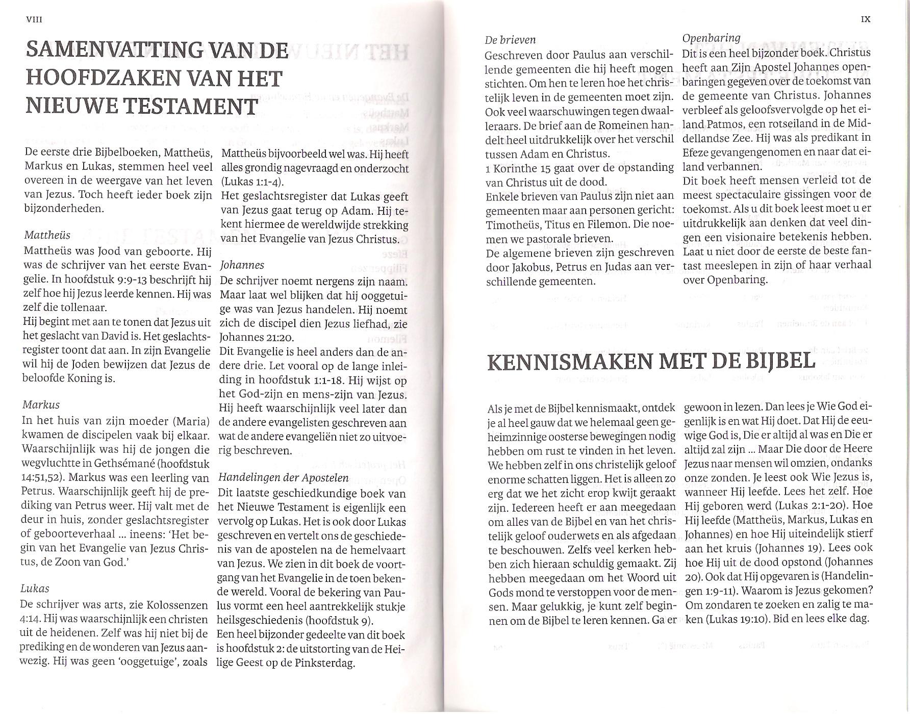 Bijbel 'De Levensbron' pag. VIII en IX