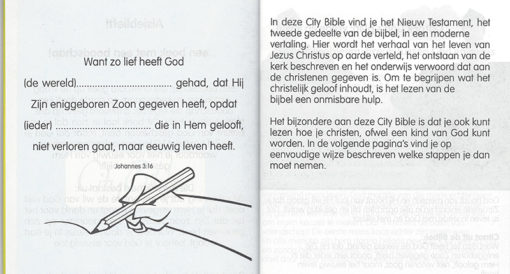 City Bible Evangelisatie bijbel - Personaliseren - Evangelisatie-Materiaal.nl