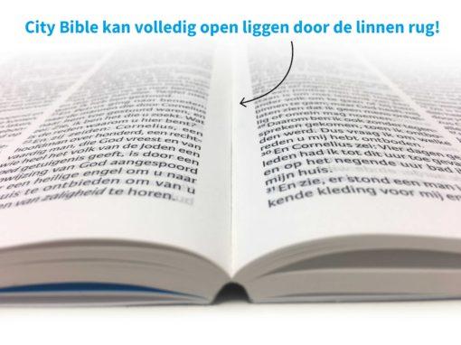 City Bible Evangelisatie bijbel - kan volledig open liggen - Evangelisatie-Materiaal.nl