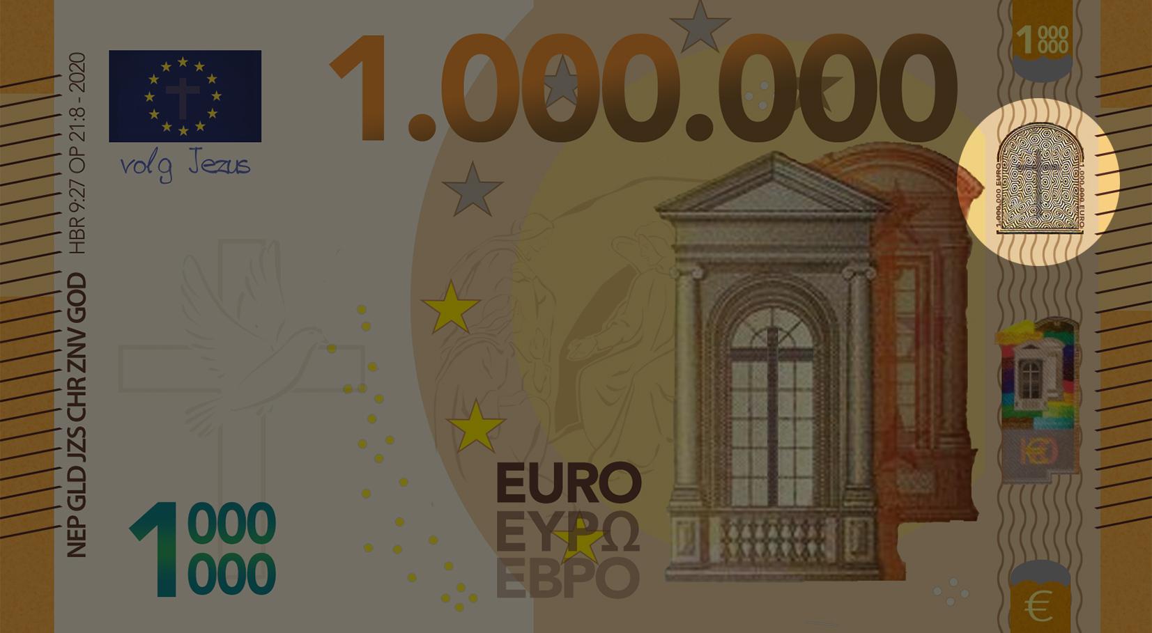 Miljoen Euro Biljet - 2020 voorkant rechts uitgelicht - evangelisatie-materiaal.nl