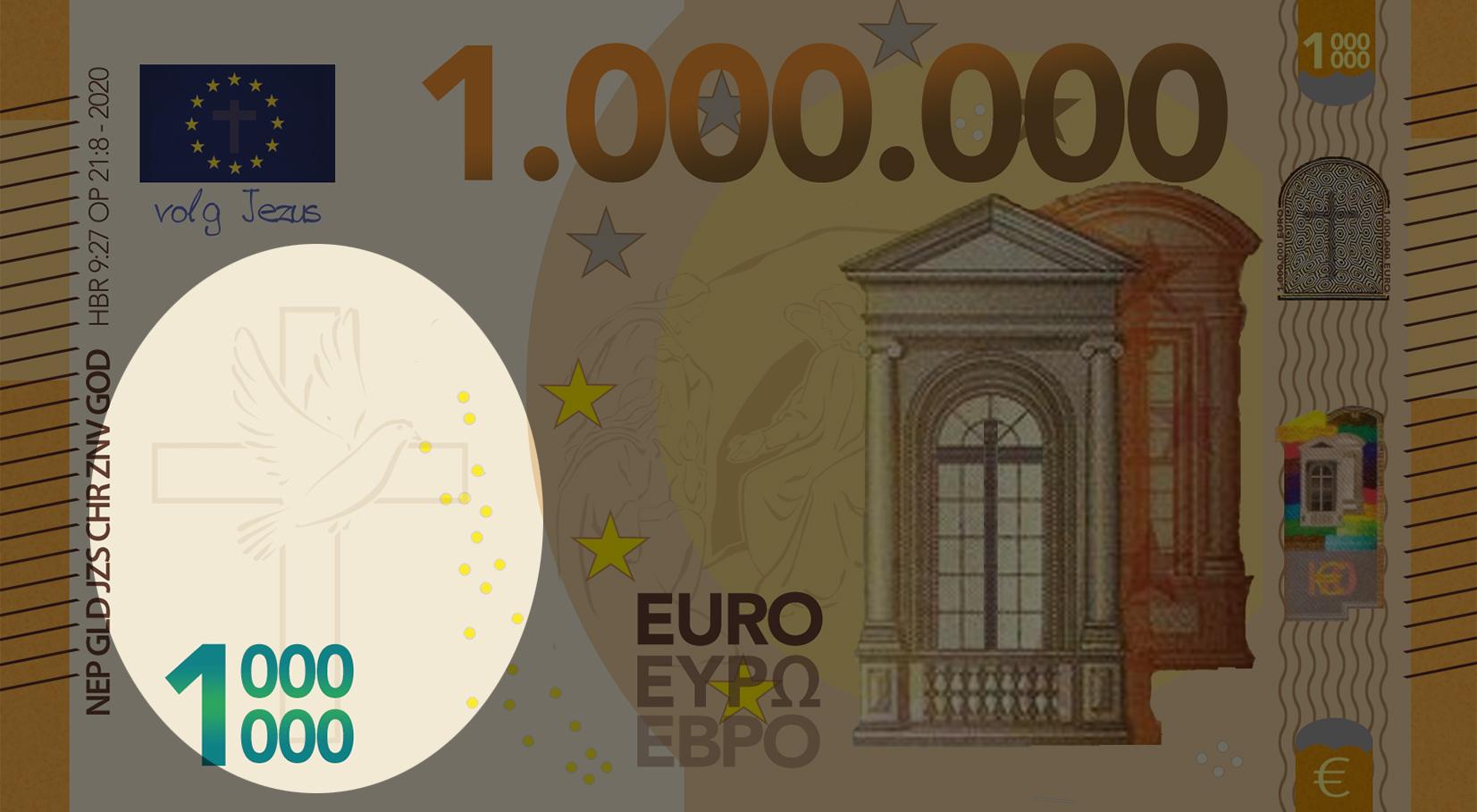 Miljoen Euro Biljet - 2020 voorkant links kruis uitgelicht - evangelisatie-materiaal.nl
