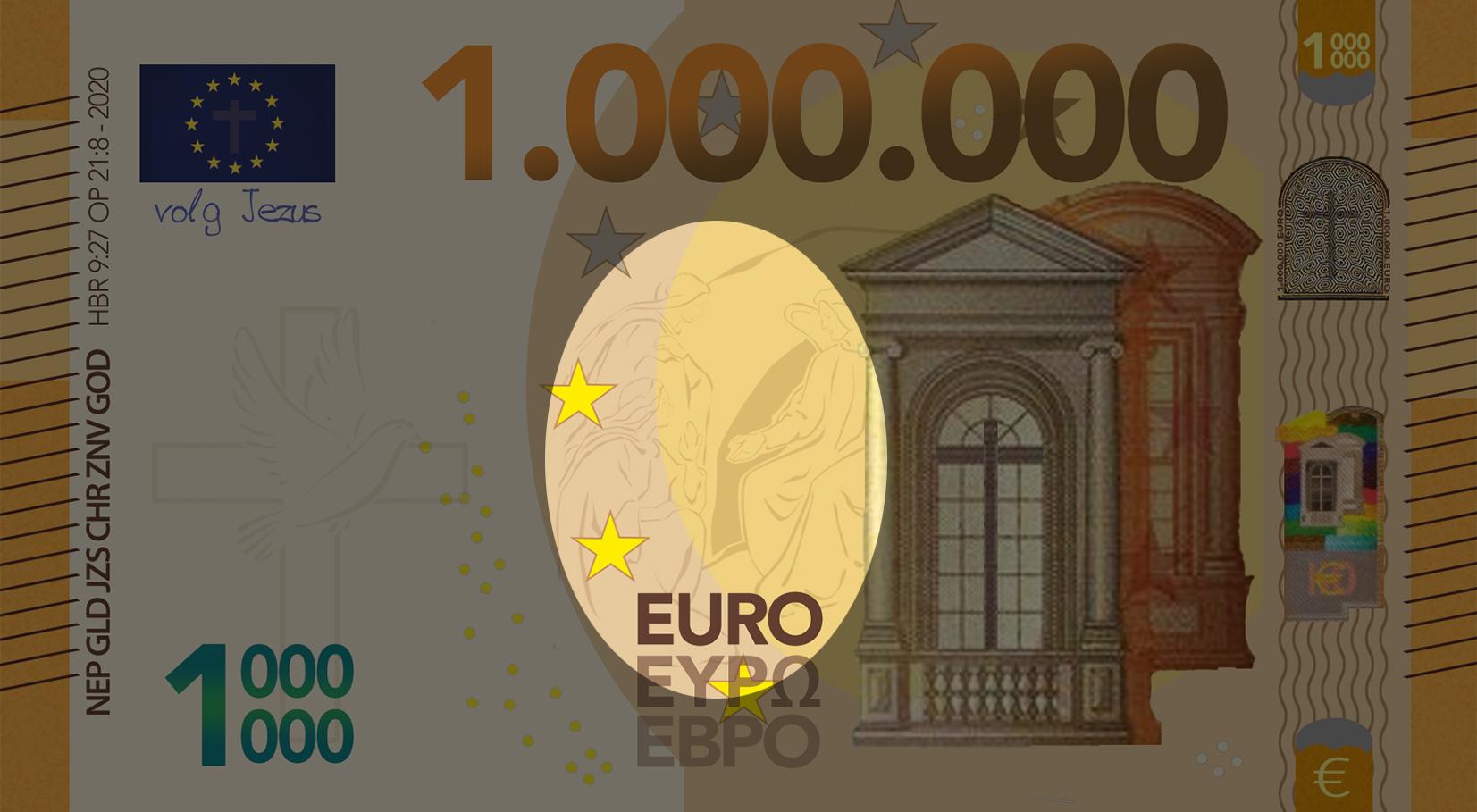 Miljoen Euro Biljet - 2020 voorkant midden uitgelicht - evangelisatie-materiaal.nl