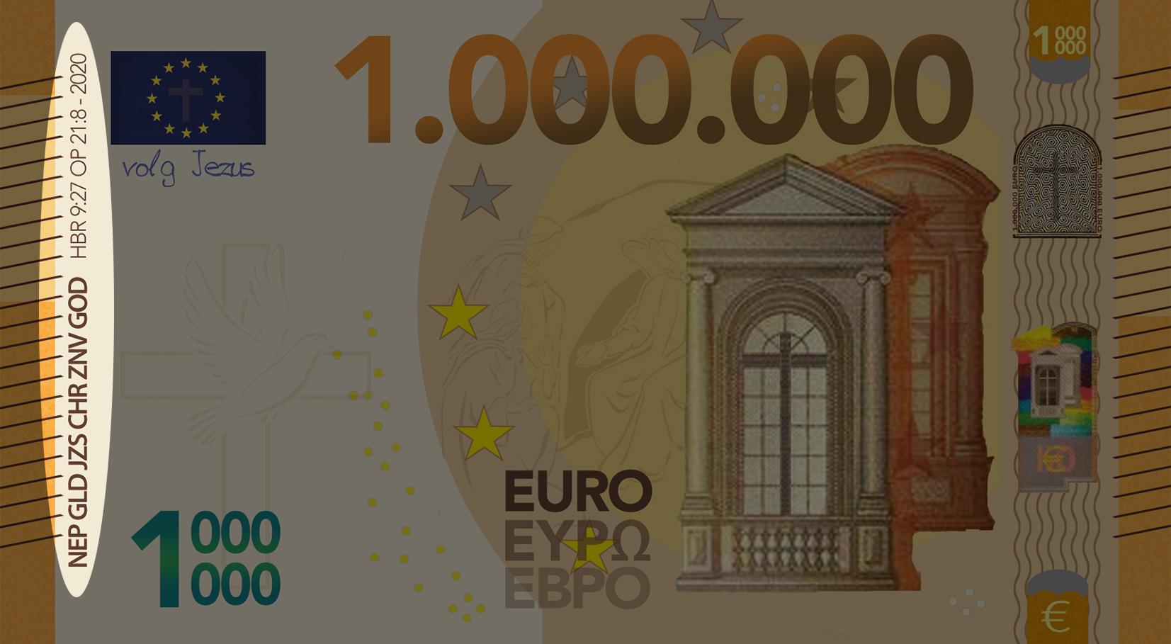 Miljoen Euro Biljet - 2020 voorkant links uitgelicht - evangelisatie-materiaal.nl