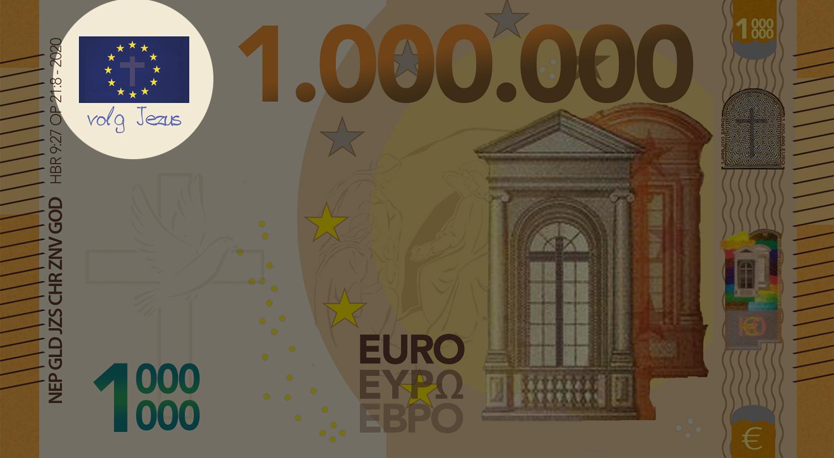 Miljoen Euro Biljet - 2018 voorkant linksboven uitgelicht - evangelisatie-materiaal.nl