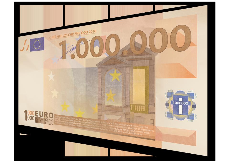 Miljoen euro biljet - Evangelisatie-Materiaal.nl 2016