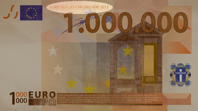 Miljoen euro biljet achterkant bovenaan evangelisatiemateriaal