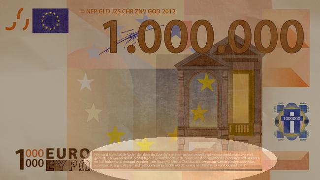 Miljoen euro biljet achterkant onderaan evangelisatiemateriaal