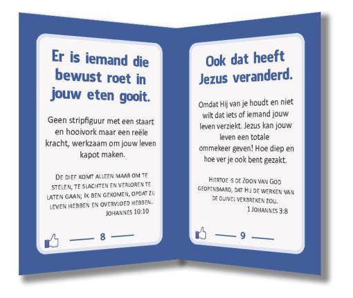 Miniboekje evangelisatie - Jezus vindt jou leuk - Evangelisatie-materiaal.nl - Pagina 8-9