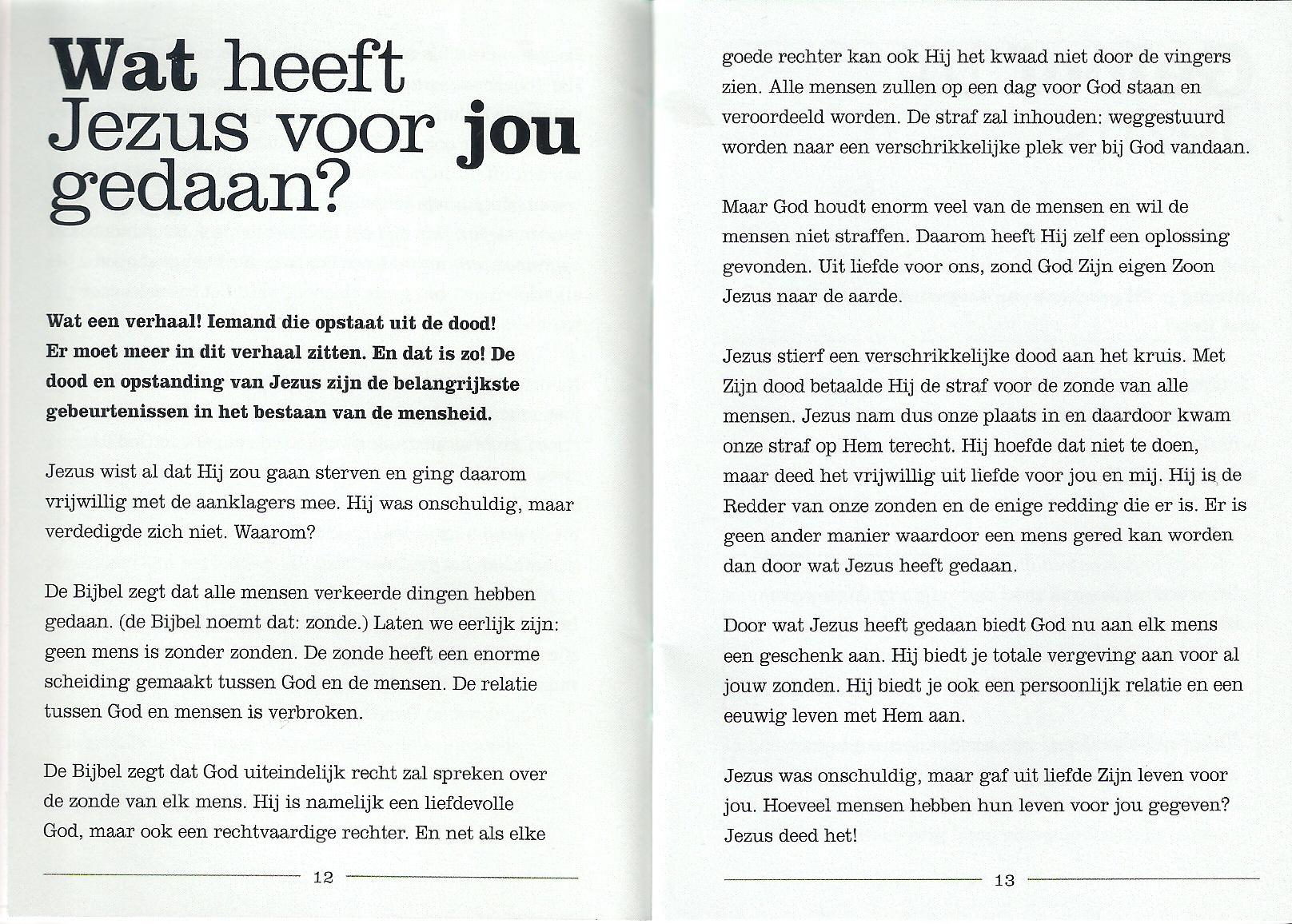 Nieuw leven p.12 en p.13- Henri Hupscher - evangelisatie boekje