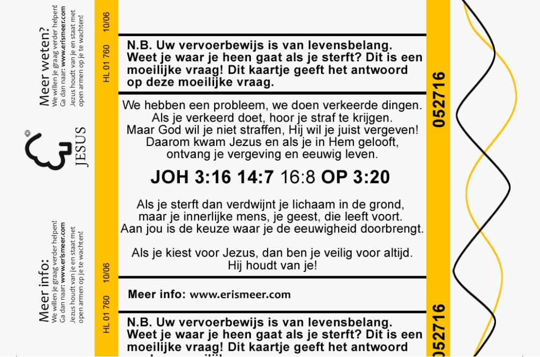 Treinkaartje - ticket naar de hemel evangelisatie traktaat (achterkant)